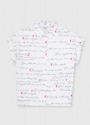 Блузка для девочек O`Stin. Цвет: жемчужный/белый