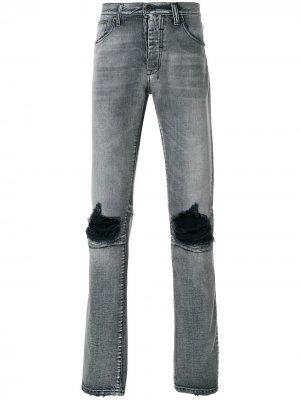 Базовые джинсы скинни с рваными деталями UNRAVEL PROJECT. Цвет: серый