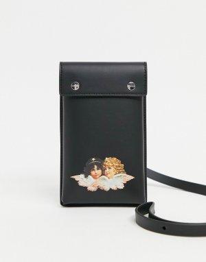 Черная сумочка-чехол для телефона с тиснением в виде ангелов -Черный цвет Fiorucci