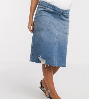 Синяя джинсовая юбка миди с посадкой над животом GeBe Maternity-Голубой Maternity