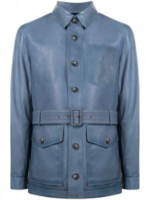 Куртка-рубашка с поясом Man On The Boon.. Цвет: синий