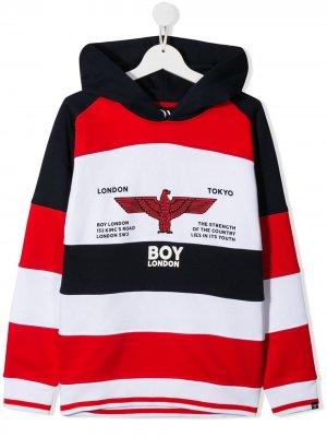 Худи в стиле колор-блок с логотипом Boy London Kids. Цвет: белый