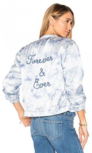 Джинсовая куртка-бомбер flo PAIGE. Цвет: синий