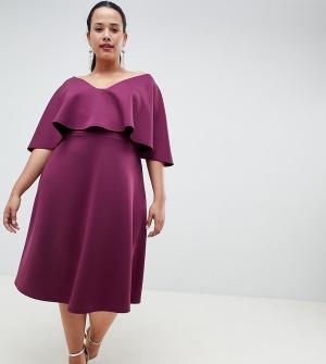 Платье миди для выпускного ASOS DESIGN Curve. Цвет: красный