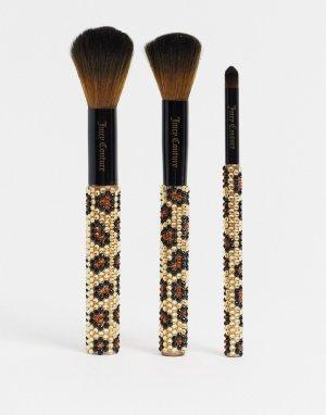 Набор из 3 кистей для макияжа со стразами -Черный Juicy Couture