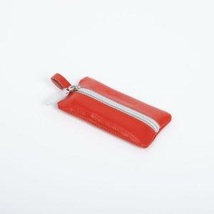 Ключница, длина 12 см, отдел на молнии, кольцо, цвет алый TEXTURA