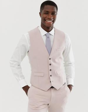 Розовый свадебный приталенный жилет Burton Menswear