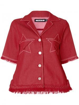 Джинсовая куртка с бахромой House Of Holland. Цвет: красный