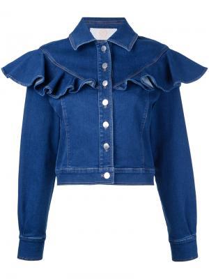 Джинсовая куртка с оборками Sara Battaglia. Цвет: синий