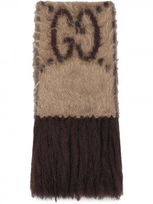 Жаккардовый шарф с узором GG Gucci. Цвет: нейтральные цвета