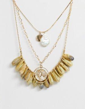 Ярусное ожерелье с искусственными ракушками и винтажной подвеской-монетой -Золотой ASOS DESIGN