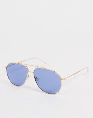 Солнцезащитные очки-авиаторы в золотистой металлической оправе с синими стеклами -Золотистый Tommy Hilfiger