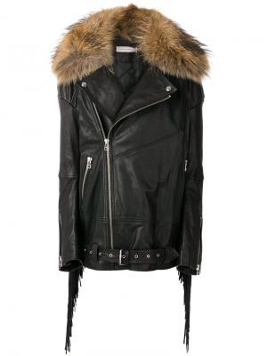 Куртка с бахромой и воротником из меха енота Faith Connexion. Цвет: чёрный