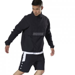 Пуловер Meet You re Woven 1/2 Zip Reebok. Цвет: black
