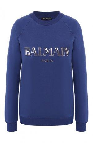 Хлопковый пуловер Balmain. Цвет: синий