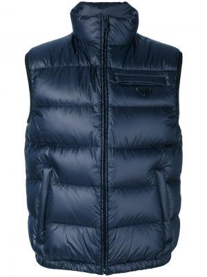 Пуховый жилет Prada. Цвет: синий