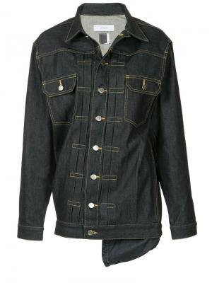 Джинсовая куртка асимметричного кроя Facetasm. Цвет: синий