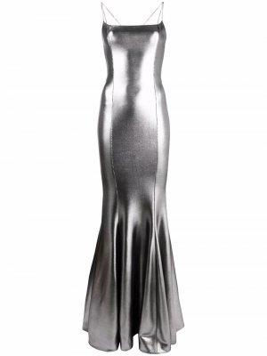 Приталенное платье с эффектом металлик Azzaro. Цвет: серебристый
