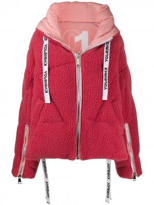 Утепленная куртка из искусственной овчины Khrisjoy. Цвет: розовый
