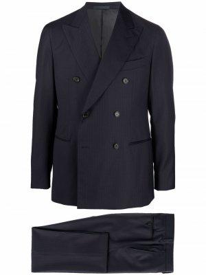 Костюм с двубортным пиджаком Caruso. Цвет: синий