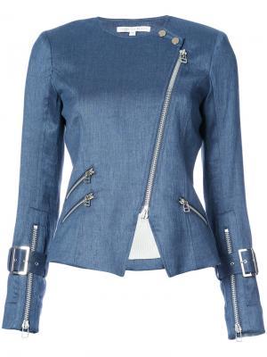 Джинсовая байкерская куртка на молнии Veronica Beard. Цвет: синий