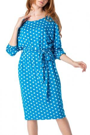 Платье Adzhedo. Цвет: ярко-синий, белый, горох