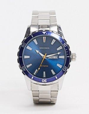 Серебристые часы-браслет с синим циферблатом -Серебряный Sekonda