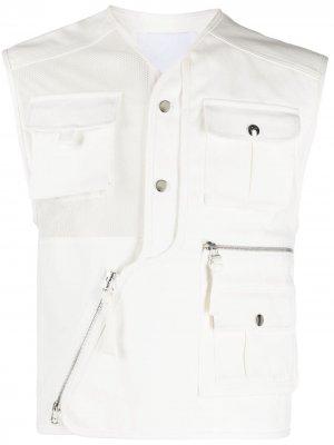 Жилет с накладными карманами и сетчатой вставкой Kenzo. Цвет: белый