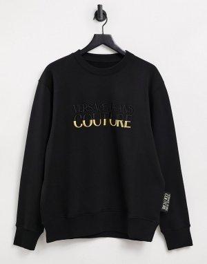 Черный свитшот с золотистым логотипом Couture-Черный цвет Versace Jeans