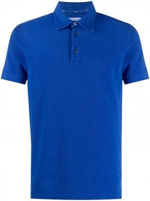 Однотонная рубашка-поло Ballantyne. Цвет: синий