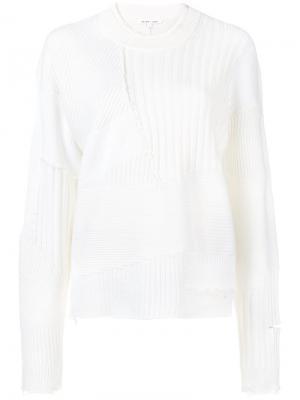 Ребристый пуловер с эффектом потертости Helmut Lang