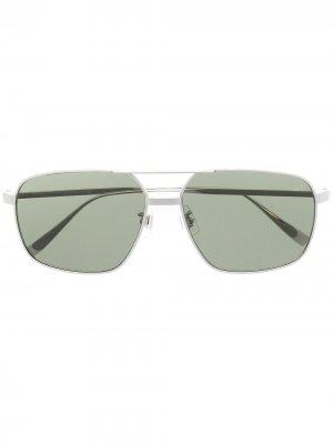 Солнцезащитные очки-авиаторы Dunhill. Цвет: серебристый