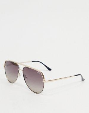 Женские черные солнцезащитные очки-авиаторы в золотистой оправе Quay High Key-Черный цвет Australia