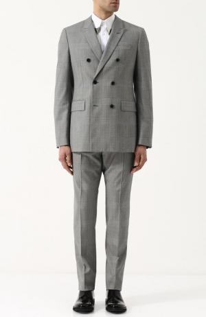 Шерстяной костюм с двубортным пиджаком CALVIN KLEIN 205W39NYC. Цвет: светло-серый