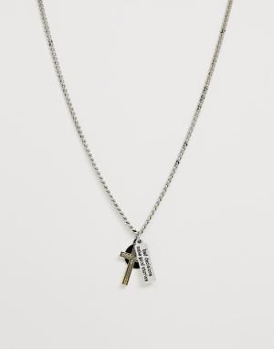 Серебристое ожерелье с подвесками Bershka. Цвет: серебряный