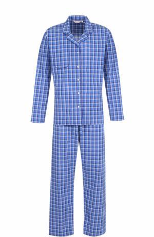 Хлопковая пижама в клетку Derek Rose. Цвет: синий