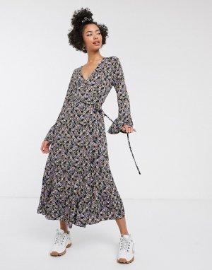 Платье миди с цветочным принтом -Фиолетовый цвет Gestuz