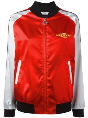 Куртка-бомбер с вышивкой Gcds. Цвет: красный