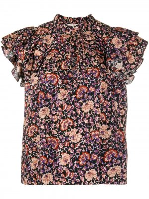 Floral ruffle-sleeve blouse Ulla Johnson. Цвет: синий