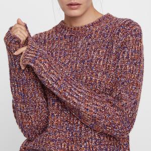 Пуловер из плотного трикотажа с круглым вырезом YAS. Цвет: розовый металлик