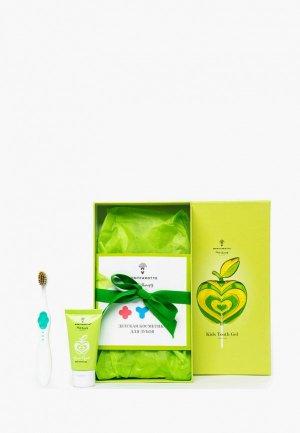 Набор для ухода за полостью рта Montcarotte Apple Kids Present Set (7 предметов) / Подарочный детей Зеленое яблоко 0+ предметов), 5 мл * + 30. Цвет: разноцветный