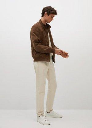 Куртка-бомбер с эффектом замши - Siena Mango. Цвет: коньячный