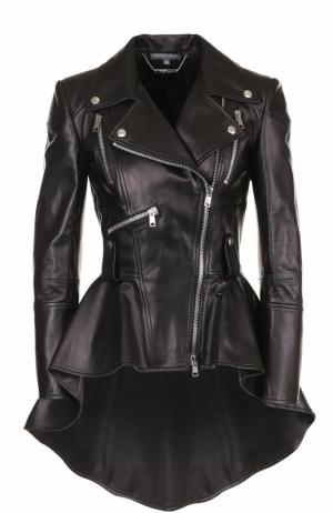 Кожаная куртка ассиметричного кроя с косой молнией Alexander McQueen. Цвет: черный