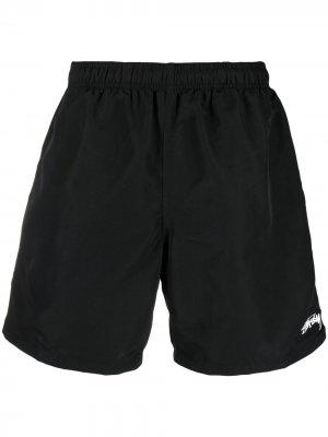 Плавки-шорты с логотипом Stussy. Цвет: черный