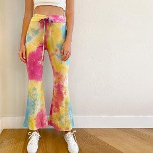 Расклешенные разноцветные брюки на кулиске SHEIN. Цвет: многоцветный