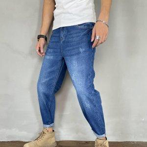Мужские зауженные джинсы с карманом SHEIN. Цвет: темно-синий