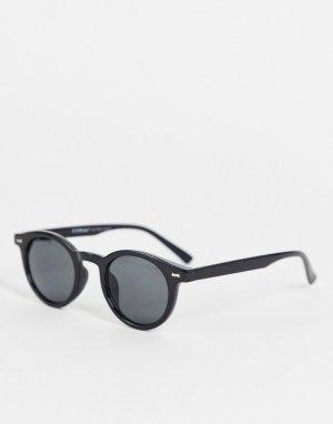 Круглые солнцезащитные очки в черной оправе стиле унисекс -Черный цвет AJ Morgan
