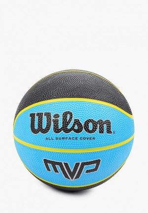 Мяч баскетбольный Wilson MVP MINI BSKT BLKBLU. Цвет: голубой