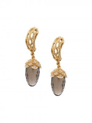 Золотые серьги с бриллиантами и кварцем Carrera. Цвет: 30101 gold grey