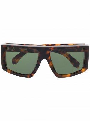 Солнцезащитные очки Alps в квадратной оправе Off-White. Цвет: коричневый